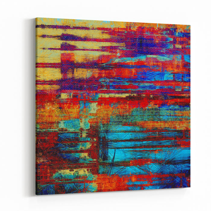 Abstract Grunge Background Or Old Texture With Different Color Patterns Yellow Beige Red Orange Blue Purple Violet Canvas Wall Art Print