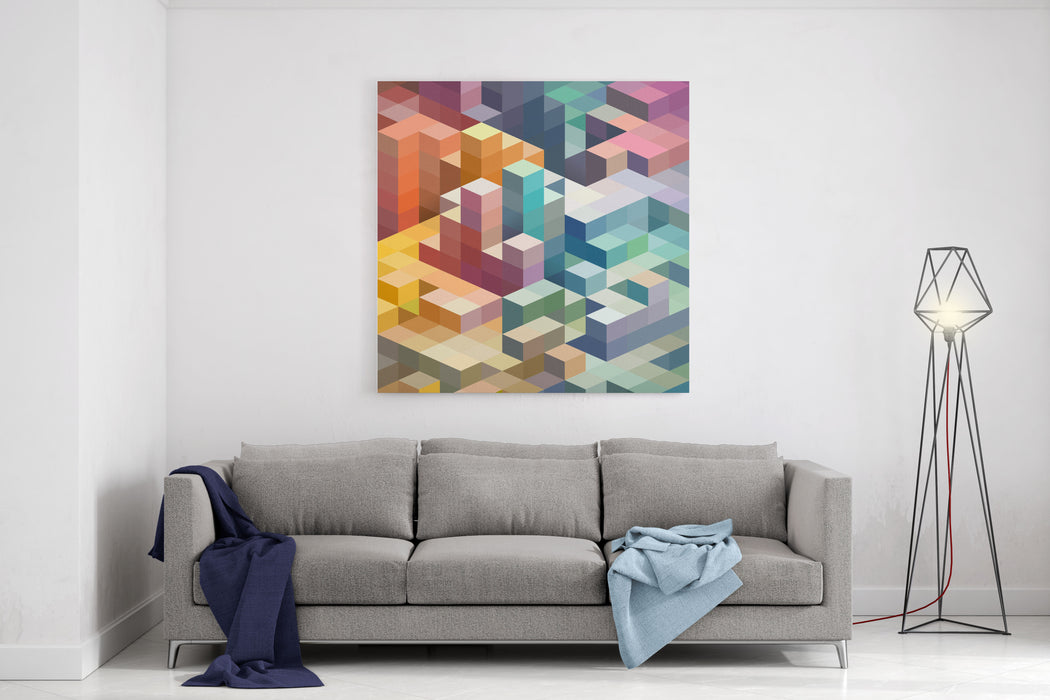 Abstract Background Of Geometric Shapes Canvas Wall Art Print