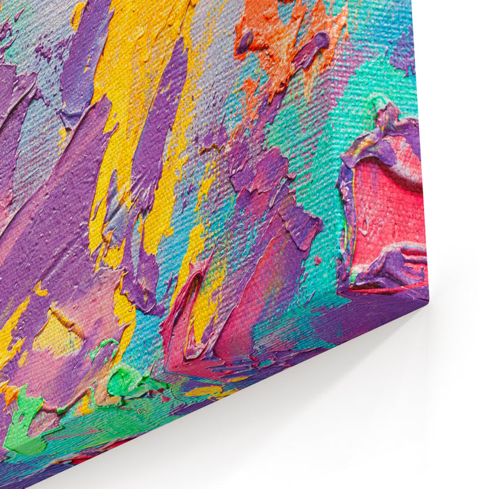 Abstract Art  Background Oil Painting On Canvas Multicolor Light And Bright  Texture Fragment Of Artwork Spots Of Oil Paint Brushstrokes Of Paint Modern Art Contemporary Art Canvas Wall Art Print