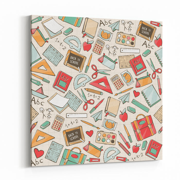 Back To School Seamless Pattern With Hand Drawn School Supplies, Books And Stationery Canvas Wall Art Print