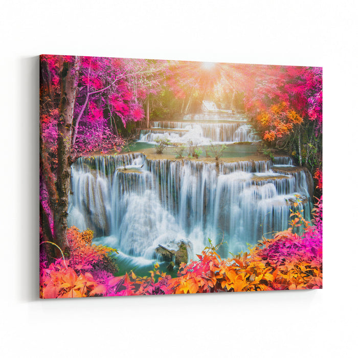 Huay Mae Kamin Waterfall, Beautiful Waterfall In Autumn Forest, Kanchanaburi Province, Thailand Canvas Wall Art Print