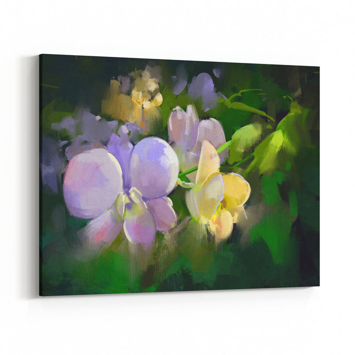 Beautiful Painting Of Orchid Flowers,illustration Canvas Wall Art Print