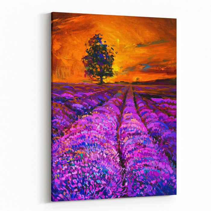 Original Oil Painting Of Lavender Field Modern Art  Impressionism By Nikolov Canvas Wall Art Print