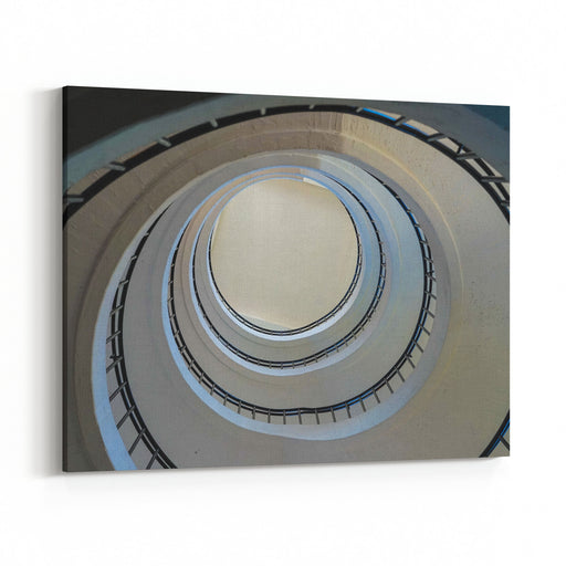 Spiral Stairs In A Museum Canvas Wall Art Print