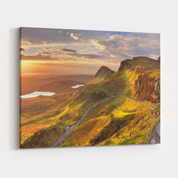 Sunrise Over The Quiraing On The Isle Of Skye In Scotland Canvas Wall Art Print
