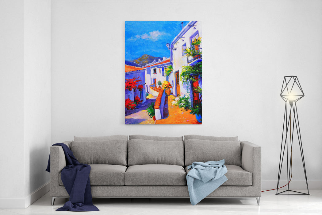 Original Oil Painting On Canvas White Houses With Flowers And Blue Sky Modern Impressionism By Nikolov Canvas Wall Art Print