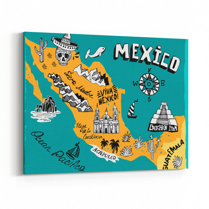 Illustrated Map Of Mexico  With The Main Attractions Canvas Wall Art Print