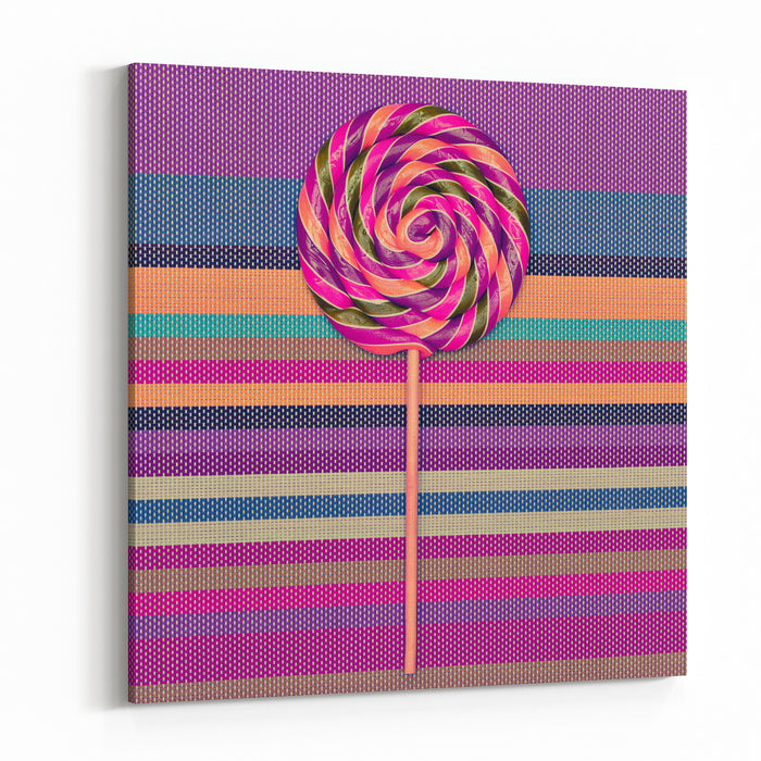 Lollipop On Bright Striped Background Vanilla Minimal Style Canvas Wall Art Print
