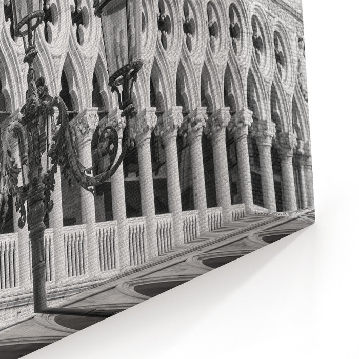 Beautiful Ornate Lampposts In Piazza San Marco Against Doges Palace In Venice, Italy Black And White Photography Canvas Wall Art Print