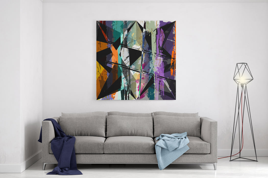 Abstract Background Composition, With Paint Strokes, Splashes And Triangles Canvas Wall Art Print