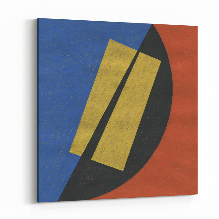 Abstract Oil Pastel Painting Artwork Abstract Painted Background, Texture Art Color Design With Geometric Shapes Handmade Illustration On Rough Grungy Paper Black, Yellow, Red And Blue Canvas Wall Art Print
