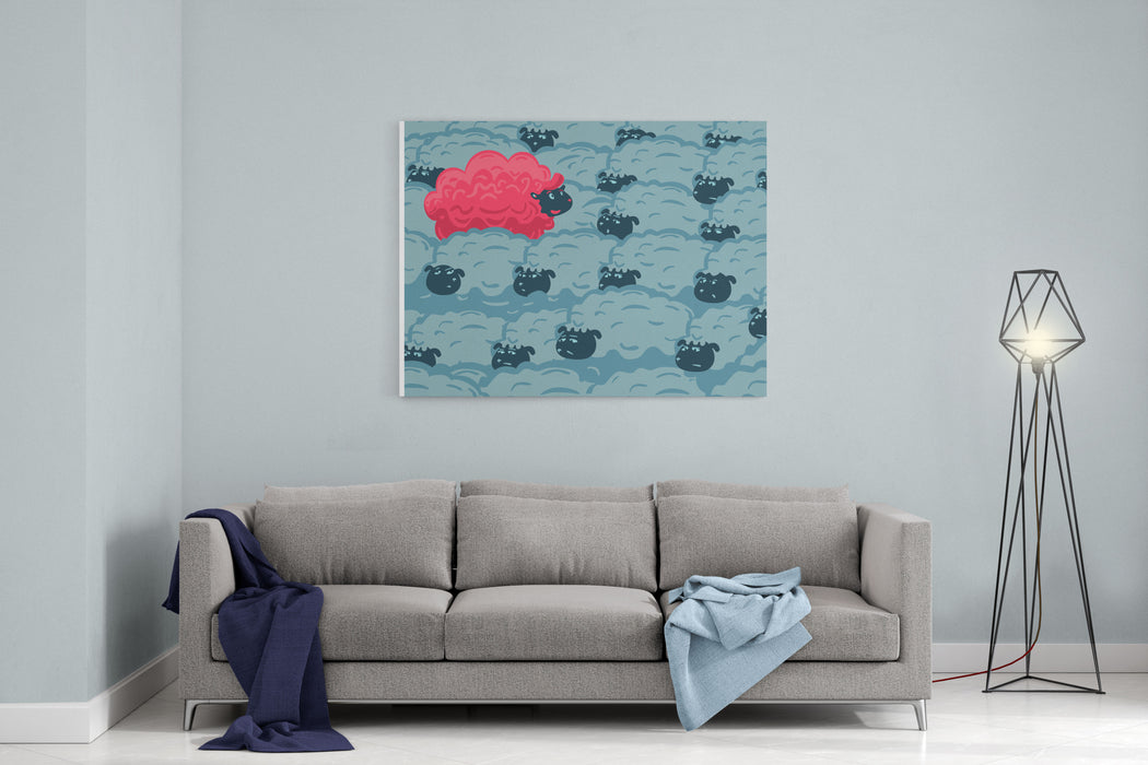 Against The Crowd One Pink Sheep In The Group Of Grey Sheep Individuality Concept Canvas Wall Art Print