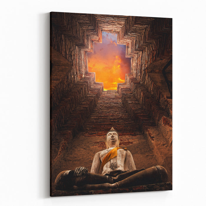 Asian Religious Architecture Ancient Sandstone Sculpture Of Buddha At Prasat Nakhon Luang In Ayutthaya Province Canvas Wall Art Print