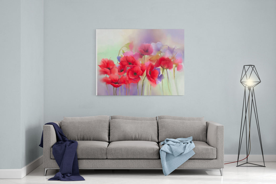 Watercolor Red Poppy Flowers Painting Flower Paint In Soft Color And Blurstyle Soft Green And Purple Background Spring Floral Seasonal