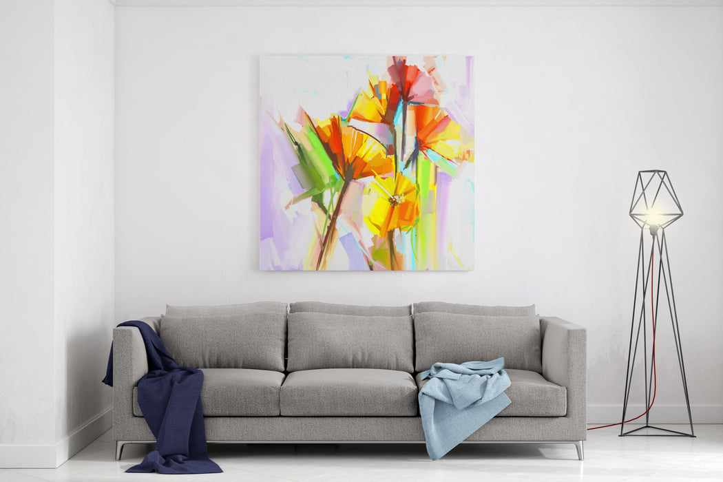 Abstract Oil Painting Of Spring Flowers Still Life Of Yellow And Red Gerbera Flowers  Hand Painted Floral Impressionist Style Canvas Wall Art Print