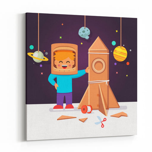 Kid Making Cardboard Box Rocket And Astronaut Costume Helmet Boy Playing Space Exploration Vector Flat Style Isolated Cartoon Illustration Canvas Wall Art Print