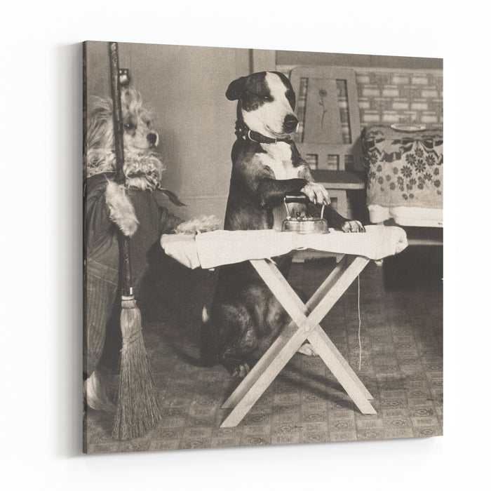 Canine Chores Canvas Wall Art Print