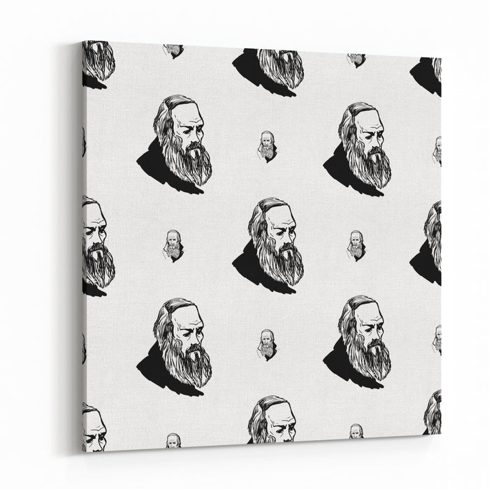 Background With Hand Drawing Inky Portraits Of The Great Russian Writers Dostoevsky Vector Seamless Pattern Ornament With A Literary Motif Canvas Wall Art Print