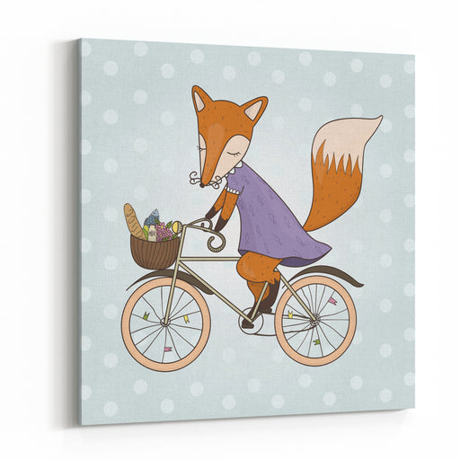Cute Fox Riding On A Bicycle Bicycle Basket With Food And Flowers Kids Illustration Vector Canvas Wall Art Print