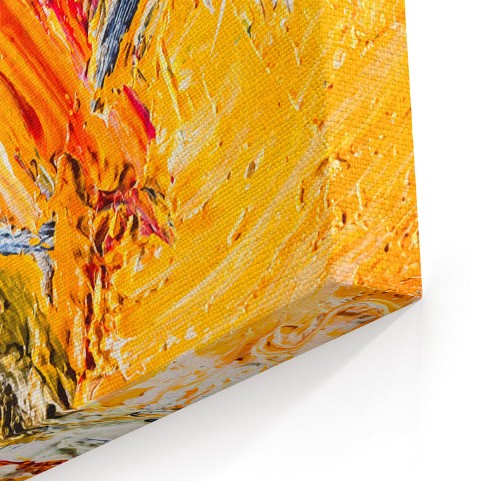 Abstract Painting Fragment Vector Illustration Wallpaper With Palette Knife Marks Oil On Canvas Texture Abstract Background Closeup View Canvas Wall Art Print