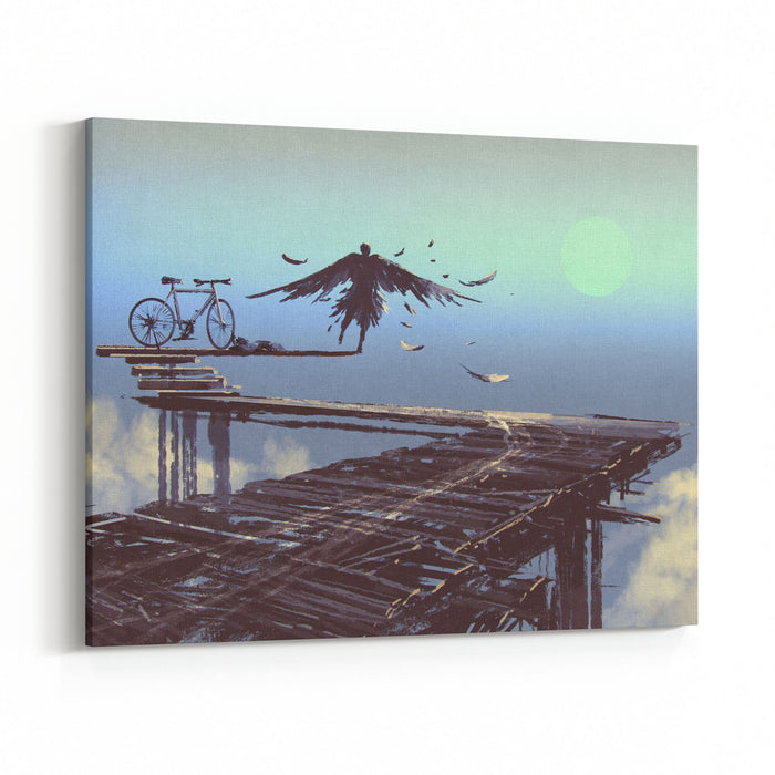 Man Becomes Bird Standing On End Of Line,illustration Painting Canvas Wall Art Print