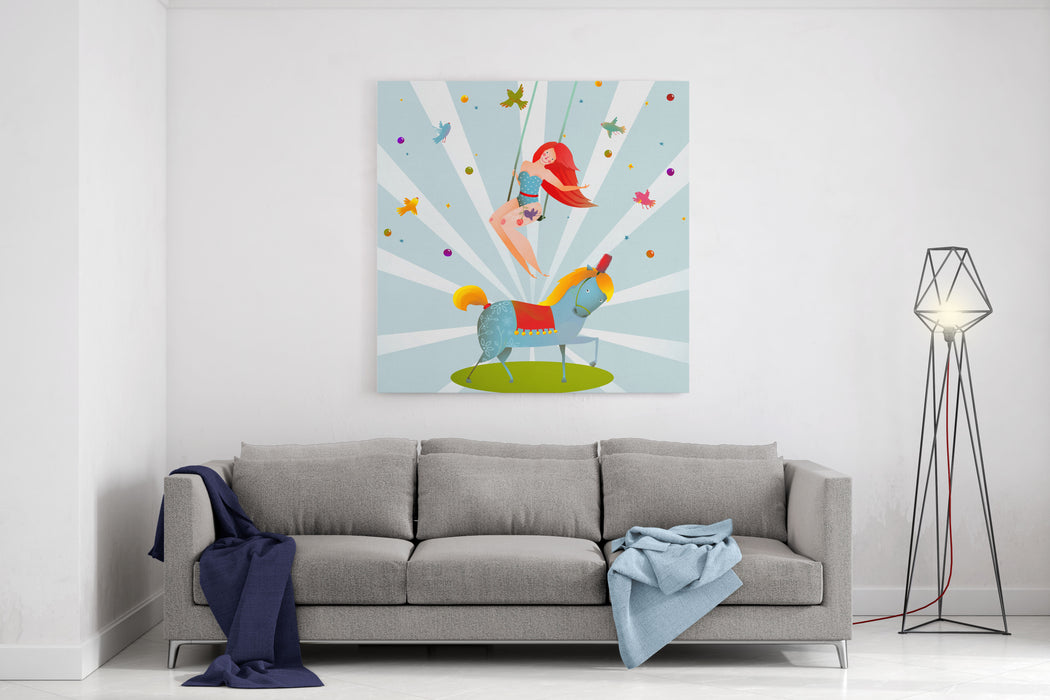 Circus Carnival Show Vintage Poster With Girl And Pony Horse Fun And Cute Performance Vintage Cartoon Card Vector Illustration Canvas Wall Art Print