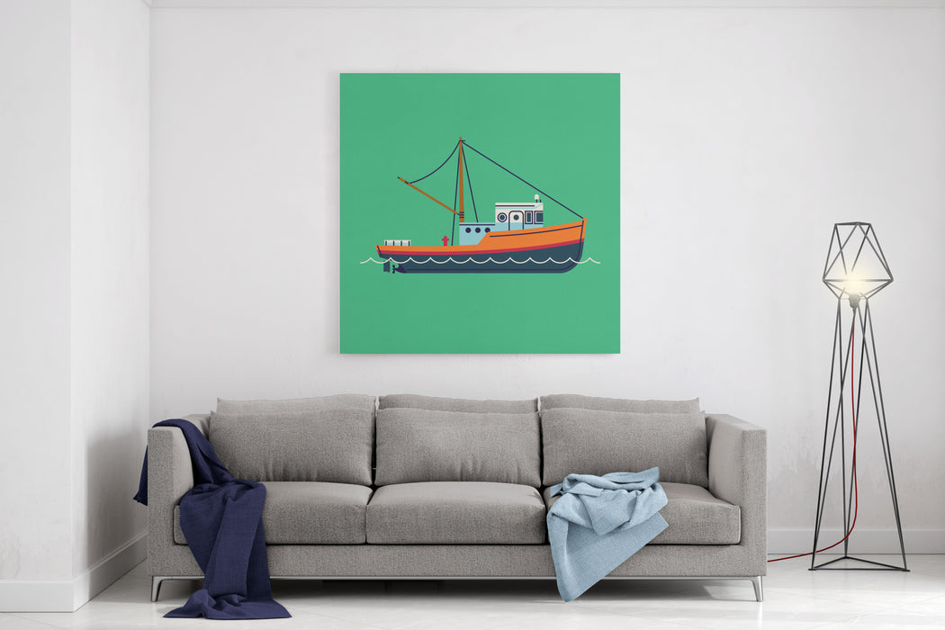 Cool Flat Design Fishing Boat Seaway Transportation Web Icon FishingVessel  Decorative Graphic Design Element, Side View, Isolated Canvas Wall Art