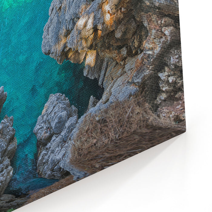 Top View Of Cliffs, Bays, Clear Sea Canvas Wall Art Print
