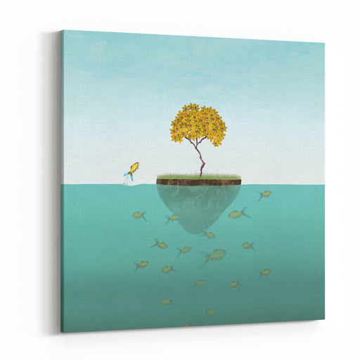 Surreal Illustration Of A Little Island With A Tree And Many Fishes Underwater And One Of Them Jump Out Canvas Wall Art Print