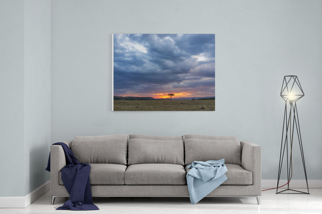 Beautiful Sunset In The Savannah Of Masai Mara National Park In Kenya, Africa Canvas Wall Art Print