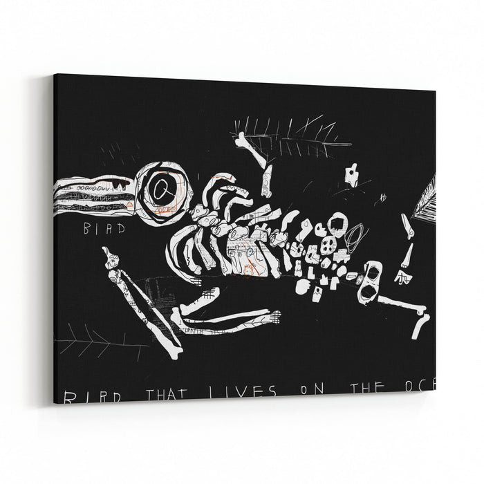 The Skeleton Of A Bird Which Ate Plastic Waste And Died Of Indigestion Canvas Wall Art Print