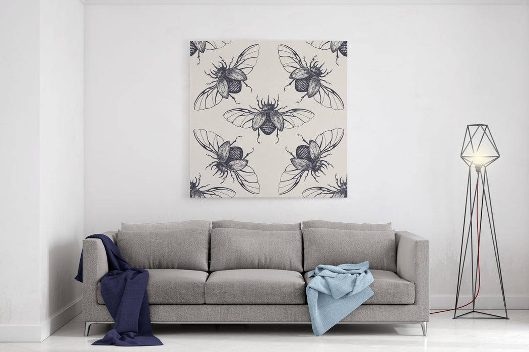 Beetles Seamless Pattern Vintage Hand Drawn Insects With Spreaded Wings Canvas Wall Art Print