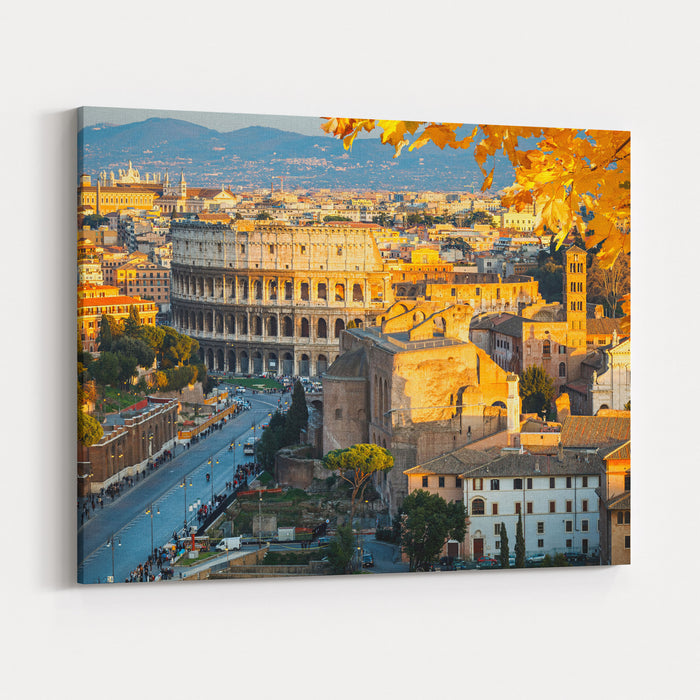 View On Colosseum In Rome, Italy Canvas Wall Art Print