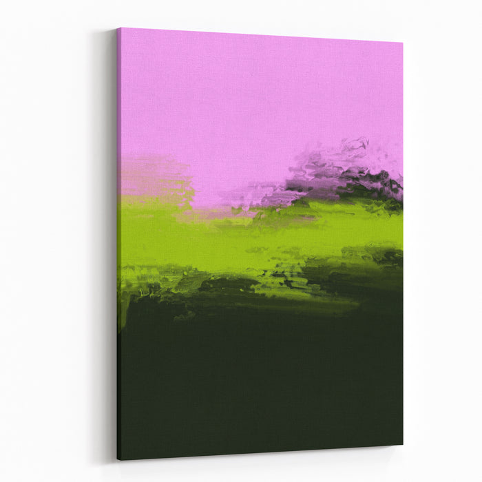 Pink And Green Abstract Painting Canvas Wall Art Print