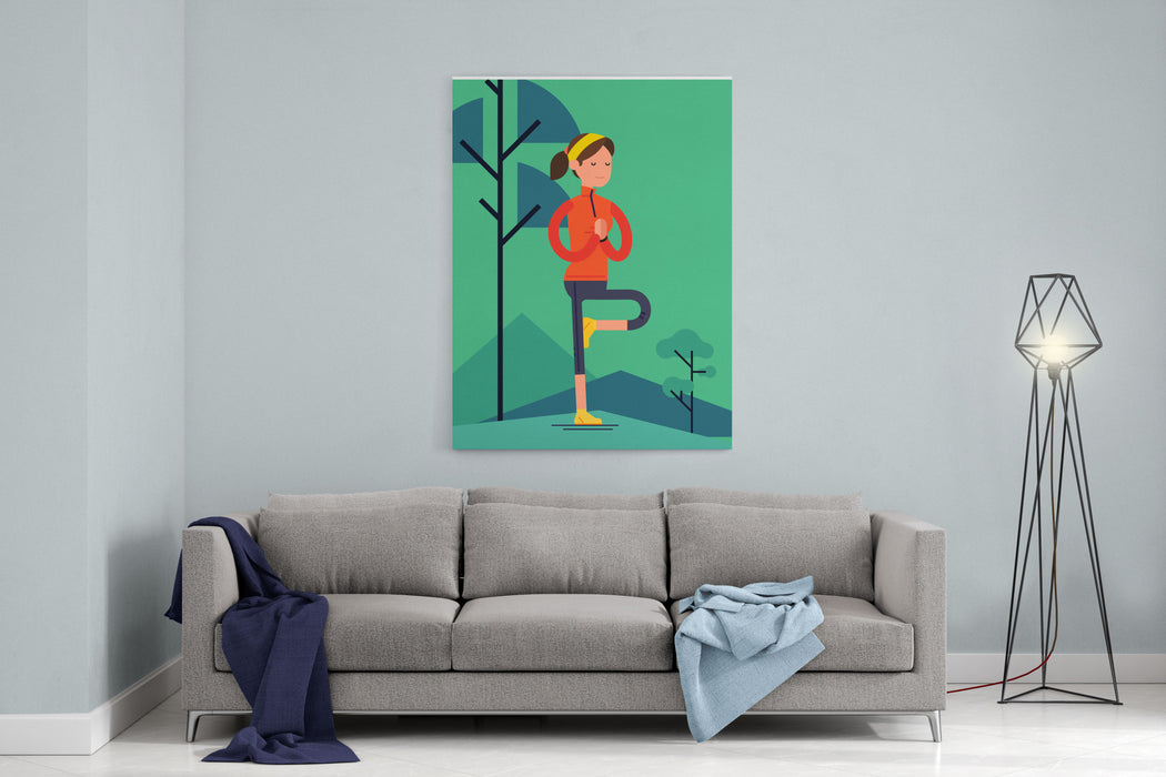 Vector Sport Young Woman Character Meditating Outdoors In Trendy Flat Design  Peaceful Female Person Balancing In Tree Pose  Adult Woman Performing Vriksasana Yoga Pose On Nature Background Canvas Wall Art Print