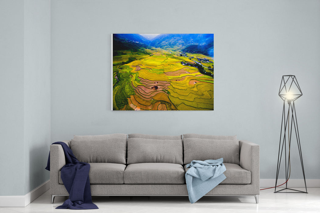 Beautiful Terraced Rice Field In Harvest Season In Mu Cang Chai, Vietnam From Aerial View Canvas Wall Art Print