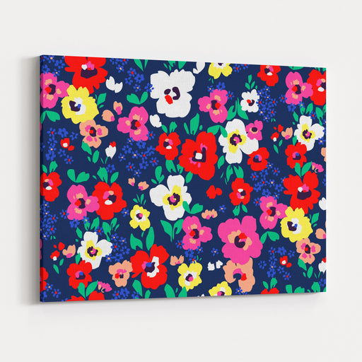 Painted Flowers  Seamless Vector Background Canvas Wall Art Print