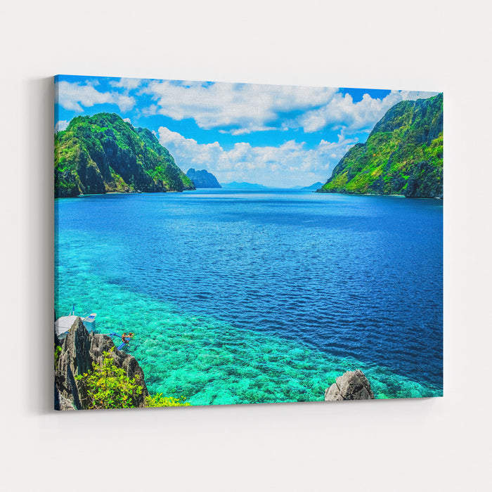 Scenic View Of Sea Bay And Mountain Islands, Palawan, Philippines Canvas Wall Art Print