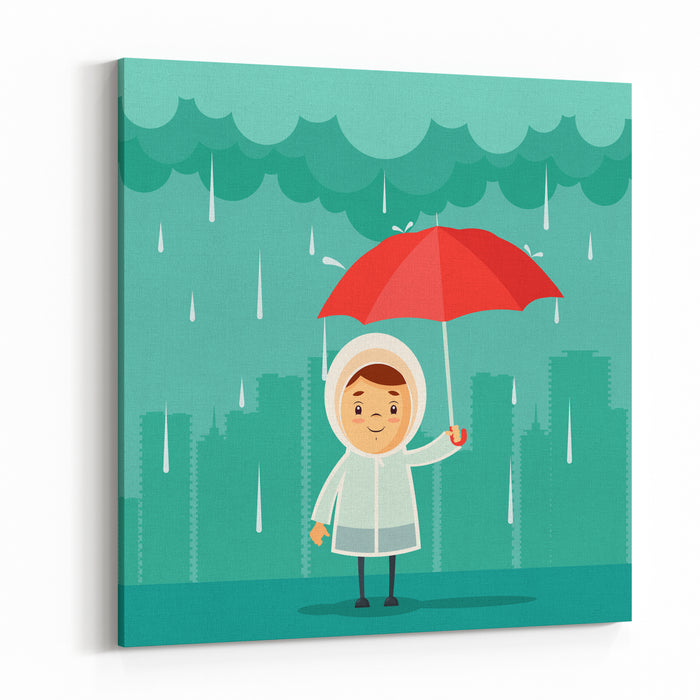 Cute Cartoon Kid With Umbrella Standing Under The Rain Buildings Silhouettes On Background Vector Illustration Canvas Wall Art Print