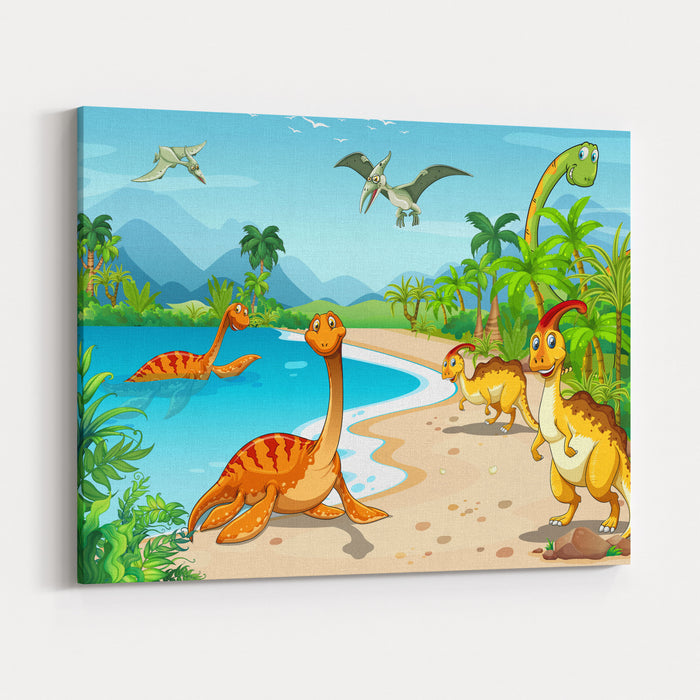 Dinosaurs Living On The Beach Illustration Canvas Wall Art Print