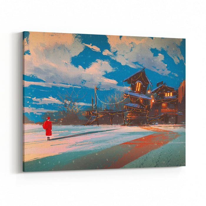 Winter Landscape With Wooden House At Christmas Night,illustration Painting Canvas Wall Art Print