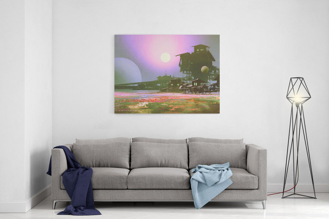 Factory And Industry In Flower Fields,scifi Scene,illustration Painting Canvas Wall Art Print