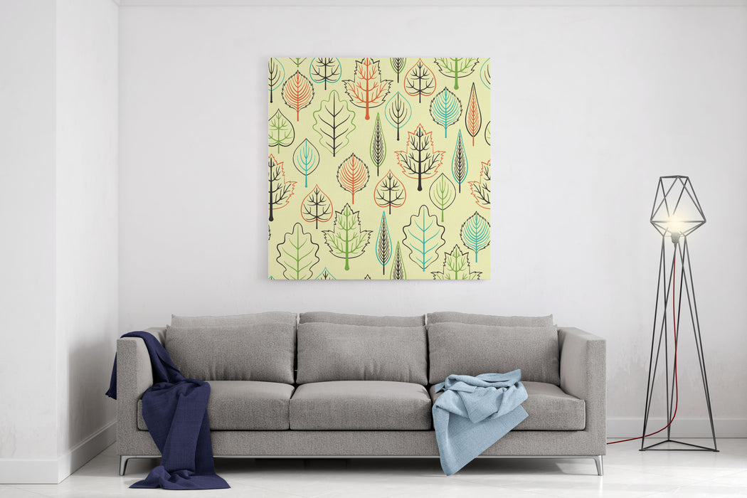 Seamless Pattern With Leaf, Autumn Leaf Background Canvas Wall Art Print