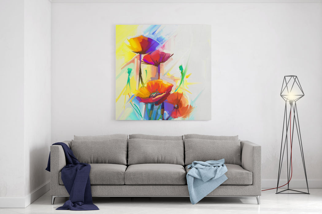 Abstract Oil Painting Of Spring Flower Still Life Of Yellow, Pink And Red Poppy Colorful Bouquet Flowers With Light Yellow, Green And Blue Background Hand Painted Floral Impressionist Style Canvas Wall Art Print