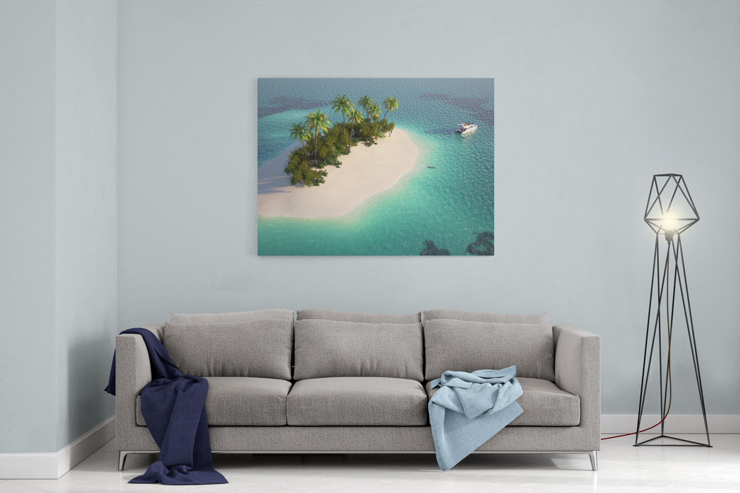 Aerial View Of A Caribbean Desert Island In A Turquoise Water With A Woman Diving And A Yacht As A Concept For Quiet Vacations Canvas Wall Art Print