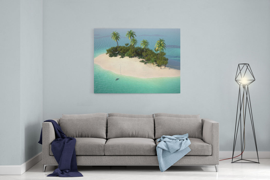 Aerial View Of A Caribbean Desert Island In A Turquoise Water With A Woman Diving As A Concept For Quiet Vacations Canvas Wall Art Print