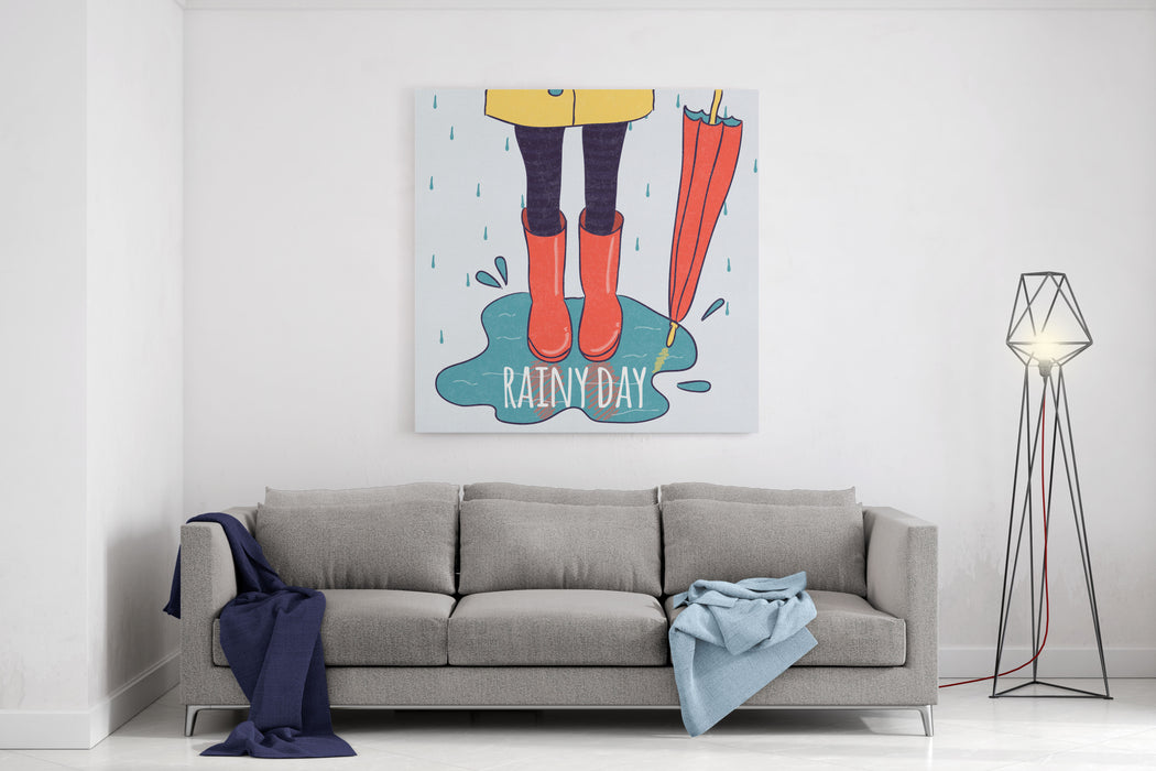 Cute Rubber Boots In Puddle  Rainy Day Vector Illustration Canvas Wall Art Print