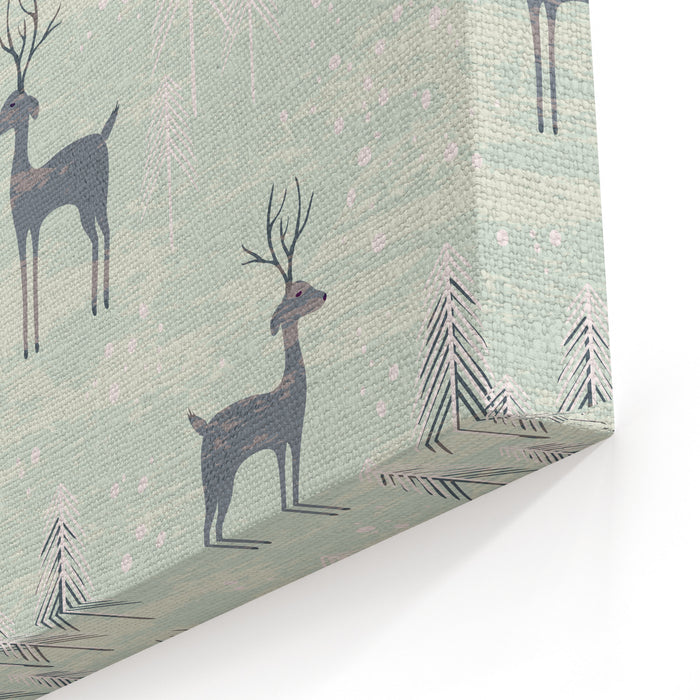 Deer In Winter Pine Forest Seamless Pattern With Hand Drawn Design For Christmas And New Year Greeting Cards, Fabric, Wrapping Paper, Invitation, Stationery Canvas Wall Art Print