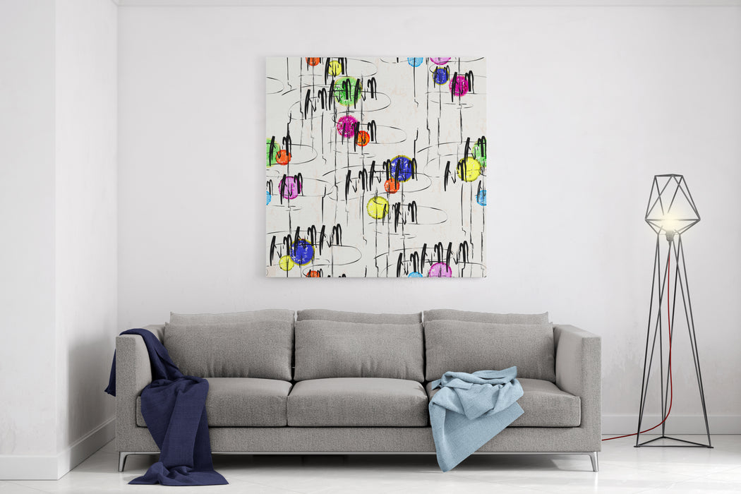 Abstract Background, Illustration With Paint Strokes And Splashes, Seamless Canvas Wall Art Print