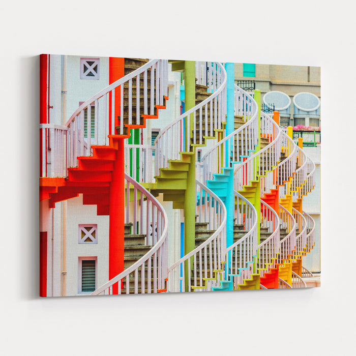 Singapore At Bugis Village Spiral Staircases Canvas Wall Art Print